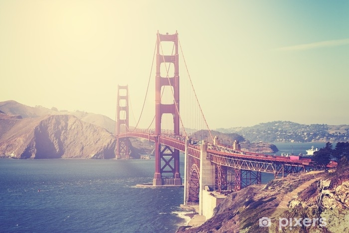 Vintage toned picture of the Golden Gate Bridge Vinyl Wall Mural - Travel