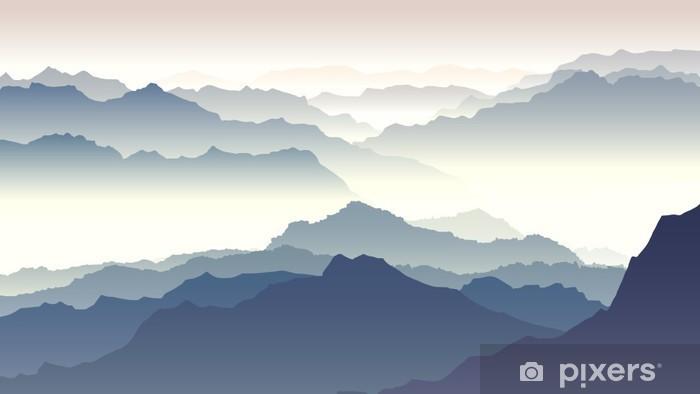 Afwasbaar Fotobehang Horizontaal illustratie van de schemering in de bergen. - Herfst