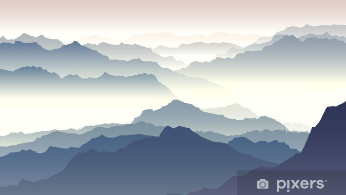 Pixerstick Sticker Horizontaal illustratie van de schemering in de bergen. - Herfst