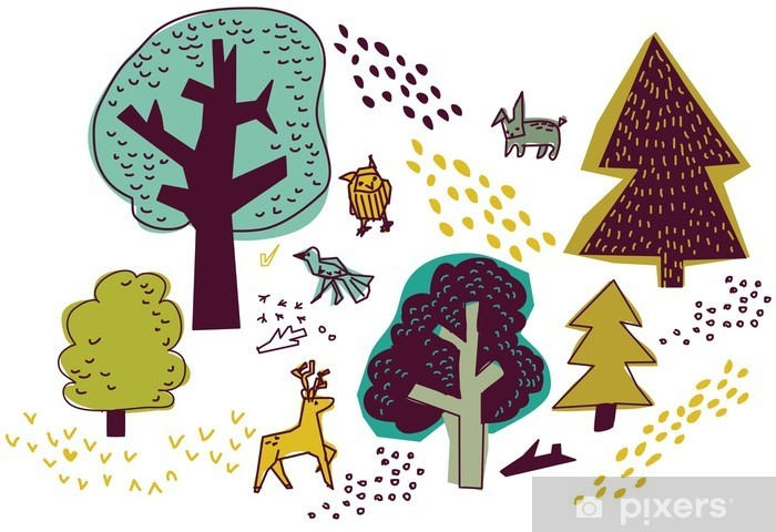 Fototapeta winylowa Las i zwierząt izolować na białym przyrody elementów. - Budynki i architektura