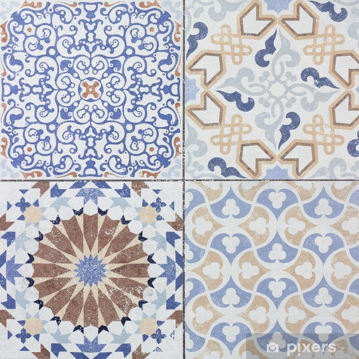 Beautiful old ceramic tile wall patterns in the park public. Vinyl Wall Mural - Textures