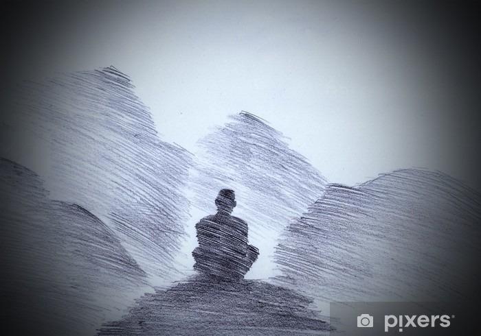 Vinyl Fotobehang Boeddhistische monnik in de bergen - Religie en Cultuur