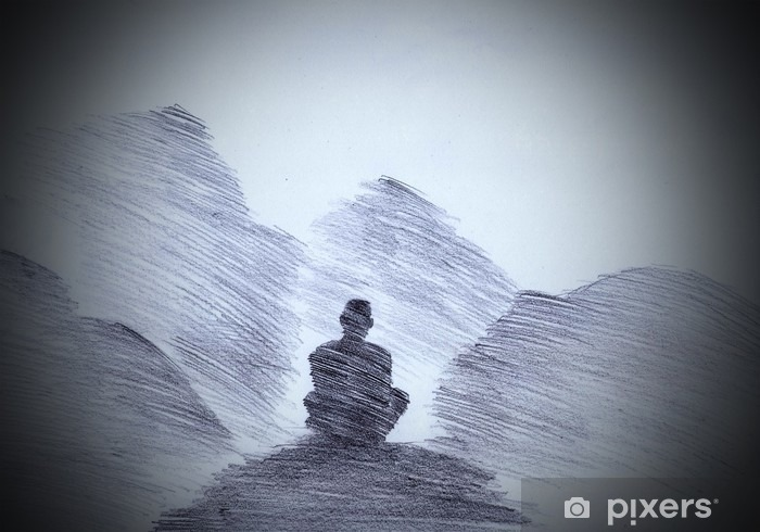 Buddhist monk in the mountains Vinyl Wall Mural - Culture and Religion