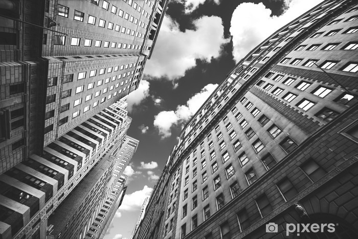 Black and white photo of buildings in Manhattan, NYC. Vinyl Wall Mural - Travel