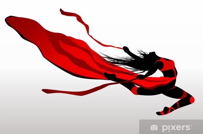 Fotomural Estándar Baile De La Chica Hermosa En Un Vestido Rojo Con La Cinta En El Viento