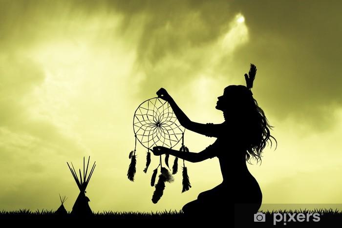 Papier peint vinyle Fille indienne avec dreamcatcher - Temps