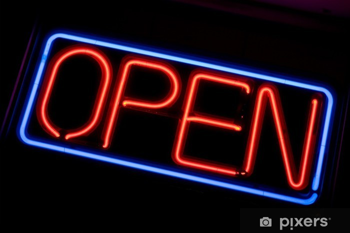 A Neon Open Sign Glowing Red In The Window Of A Restaurant Sticker Pixers We Live To Change