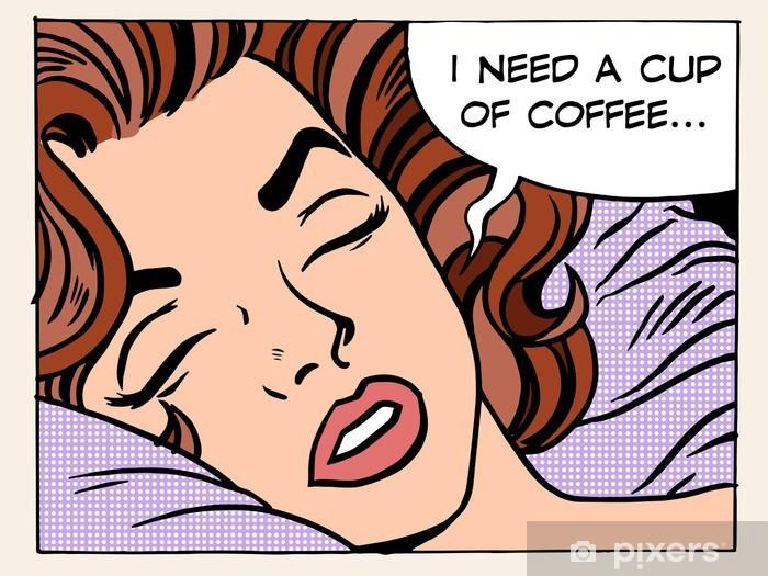 Fotomural Estándar Sueños de la mujer por la mañana taza de café - Gente