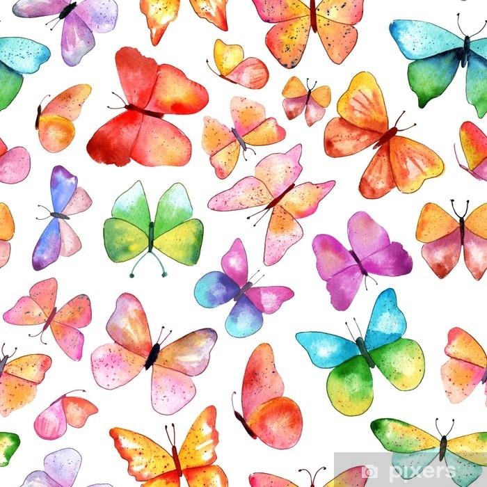 Seamless watercolor butterfly background pattern Sticker ...
