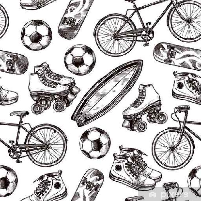 Sticker Pixerstick Actif Motif loisirs Seamless - Sports