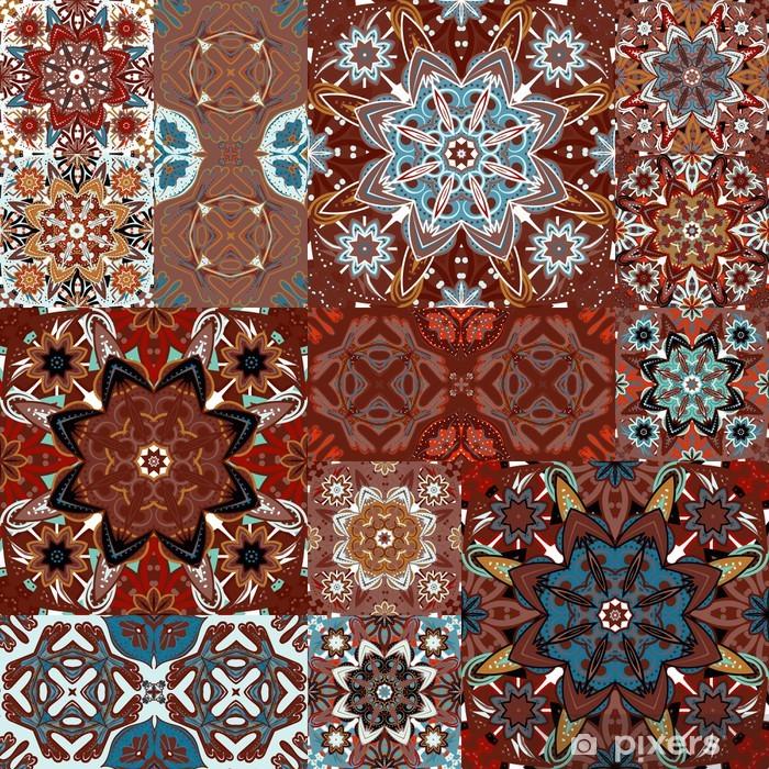 Sticker pour armoire Seamless tile vecteur de patchwork avec motifs victoriens en couleurs - Art et création