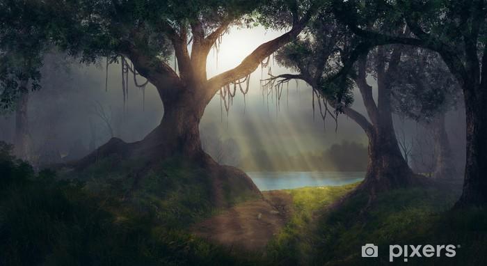 Zelfklevend Fotobehang Sun rays in the forest - Bossen