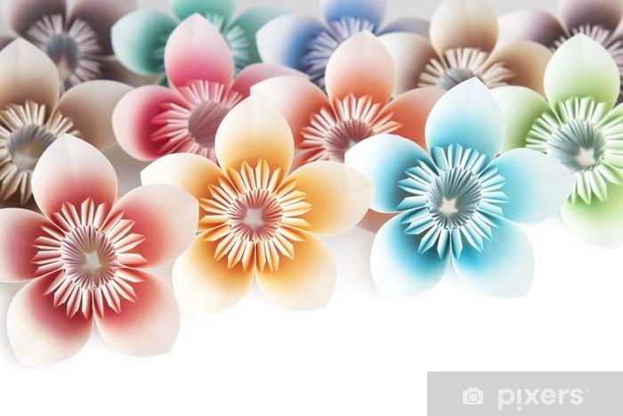 Naklejka Pixerstick Origami kwiaty na białym tle - Tła