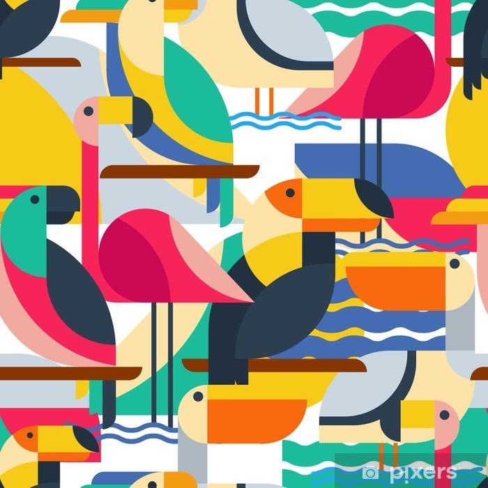 Sticker Pixerstick Seamless avec des oiseaux tropicaux. - Animaux