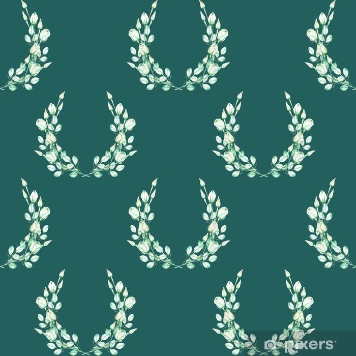 Pixerstick Sticker Een naadloze bloemmotief met de kransen van de aanbesteding groene rozen, geschilderd in een aquarel op een donkere groene achtergrond - Grafische Bronnen
