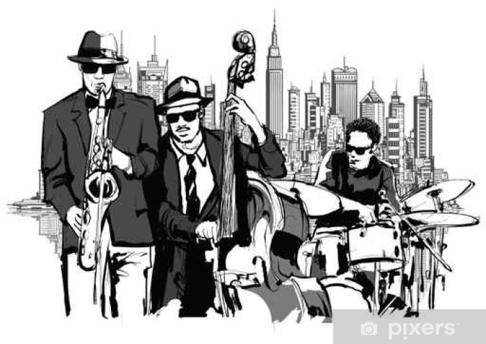 Fotomural Autoadhesivo Banda de jazz en Nueva York - Hobbies y entretenimiento