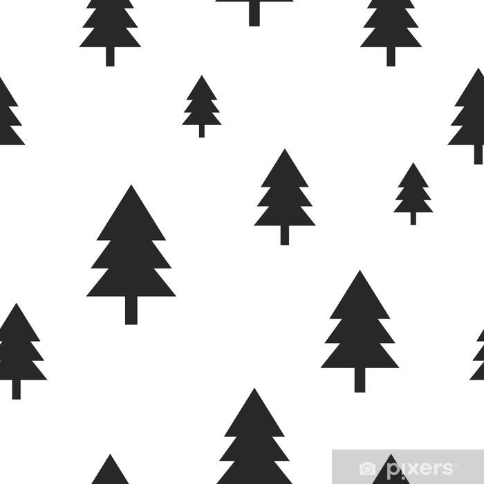 Fototapeta winylowa Skandynawski drzewo czarny las na białym tle Wektor bez szwu. Prosta i modny design dla tkanin, papieru oblewania, wydruków. - Zasoby graficzne