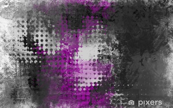 Pixerstick Sticker Abstract grunge achtergrond met grijs, wit en paars - Industrieel