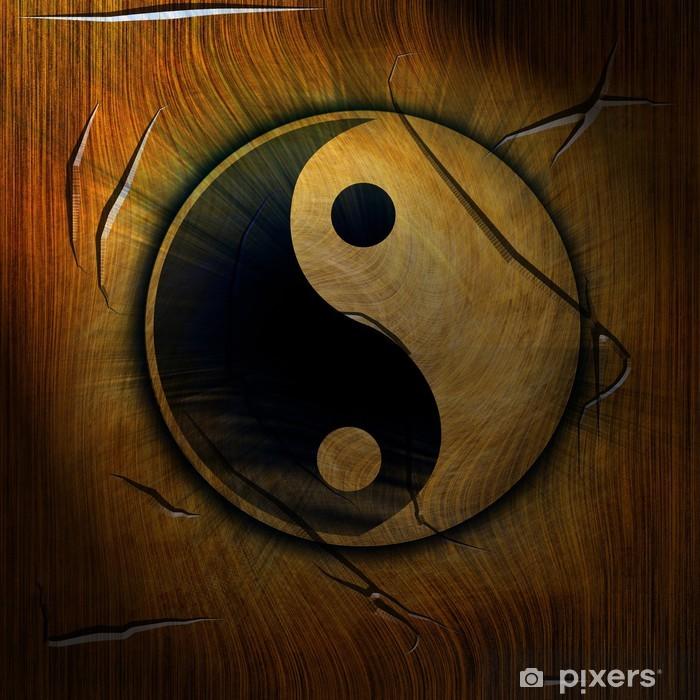Fototapeta winylowa Yin Yang symbolu na tle drewniane - Criteo