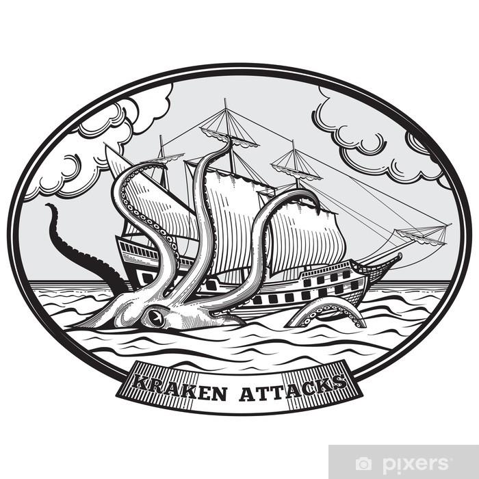 Plakat Żaglowiec i ośmiornice potwora Krakena godło wektor w parze narysowanych stylu - Znaki i symbole