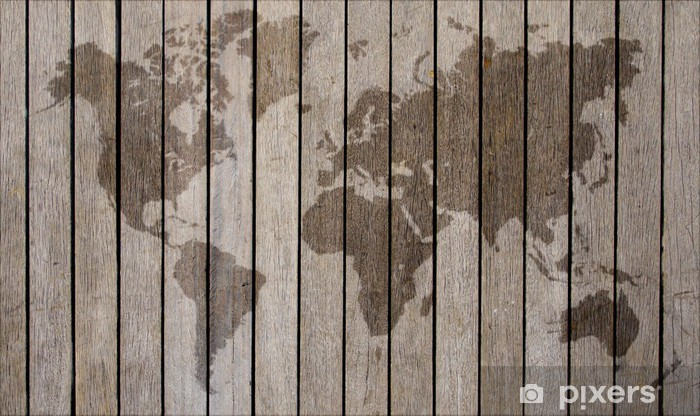 World Map Overlaid On Brown Wooden Texture Patterned Background Lack Table Veneer