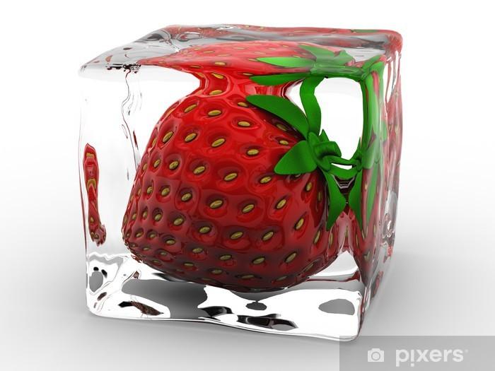 Sticker Pixerstick Fraise congelés en cube de glace - Fraises