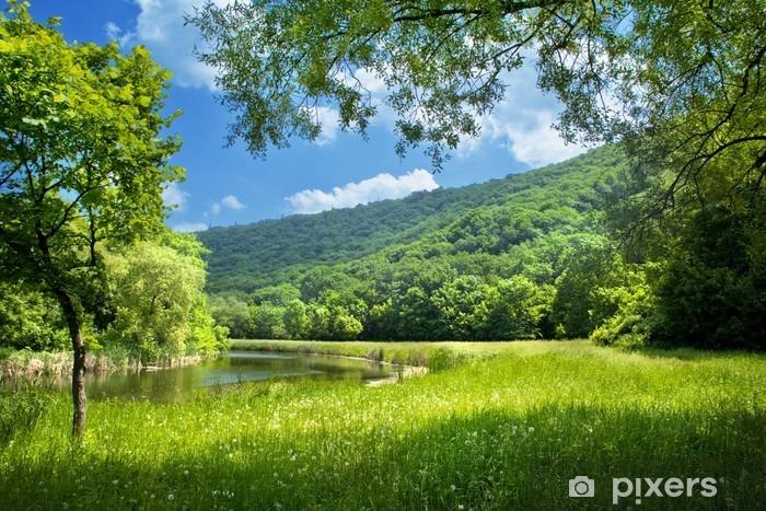 Carta da Parati in Vinile Paesaggio estivo con fiume e blu cielo - Temi