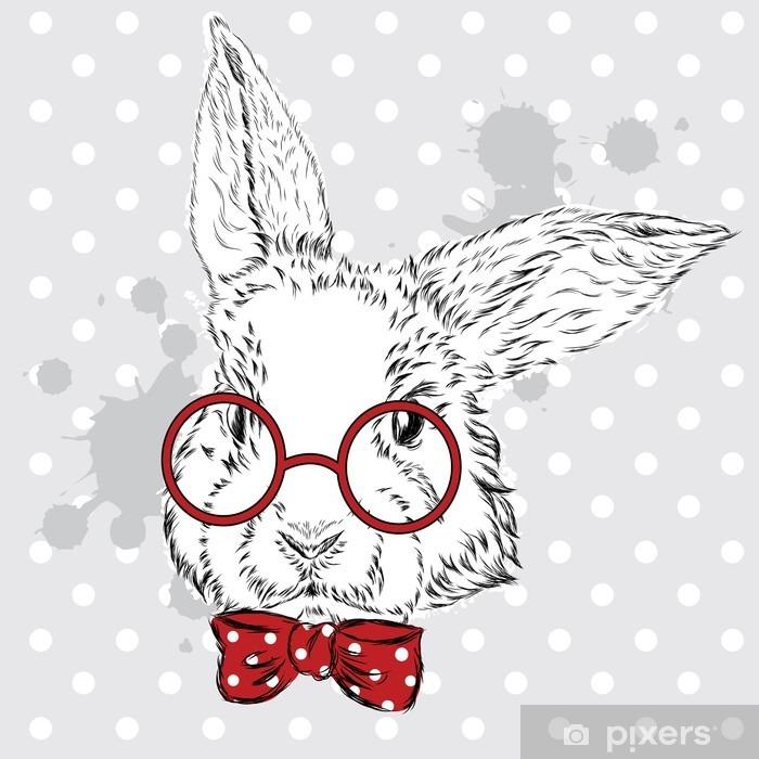 Plakat w ramie Wektor Królik. Strony rysunku zwierzęcia. Drukuj. Hipster. Akwarela Bunny. Vintage pocztówka. - Zwierzęta