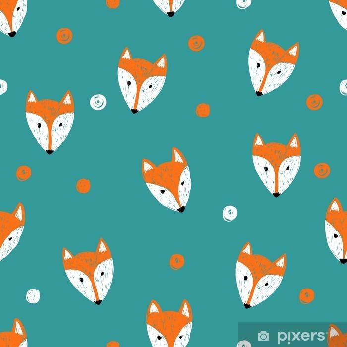 Vinil Duvar Resmi Fox seamless pattern. Doodle arka plan. -