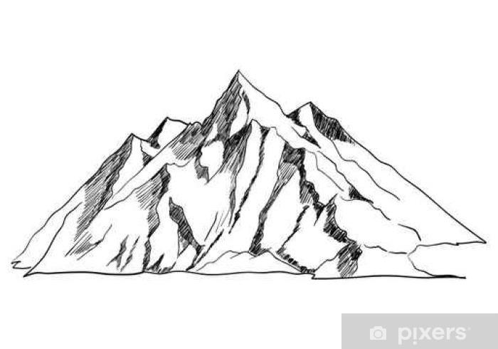 Carta Da Parati Arte Line O Illustrazione Disegno Di Una Montagna