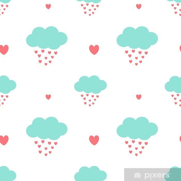 Fotomural Estándar Nubes de dibujos animados lindo gotas corazones romántico y encantador del vector sin patrón ilustración de fondo - San Valentín