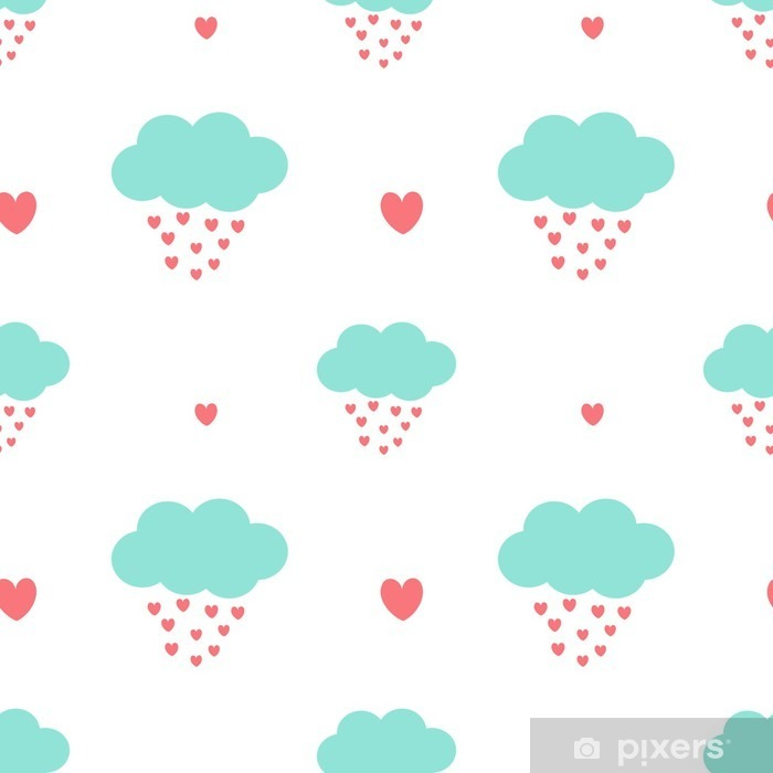 cute cartoon clouds drops hearts romantic and lovely seamless vector pattern background illustration Vinyl Wall Mural - Valentine's Day