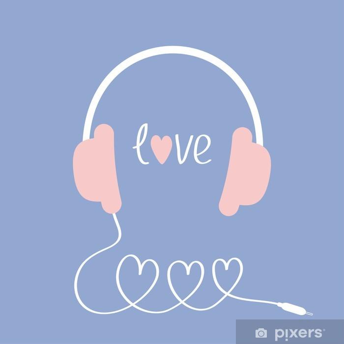Plakat Słuchawki i przewód w kształcie trzech serc. Słowo miłość. Białe tło. Odosobniony. Płaska konstrukcja. Serenity, różowa róża kolor kwarc. - Criteo