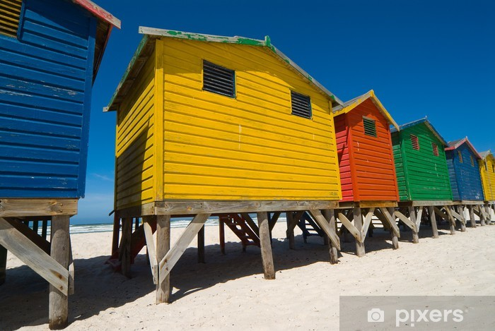 Colored beach huts near cape town - low angle Vinyl Wall Mural - Africa