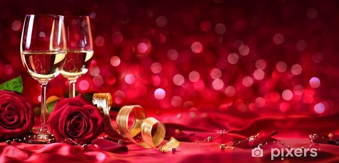 Sticker Pixerstick Célébration romantique de la Saint Valentin - Avec Wine And Roses__ - Fêtes internationales