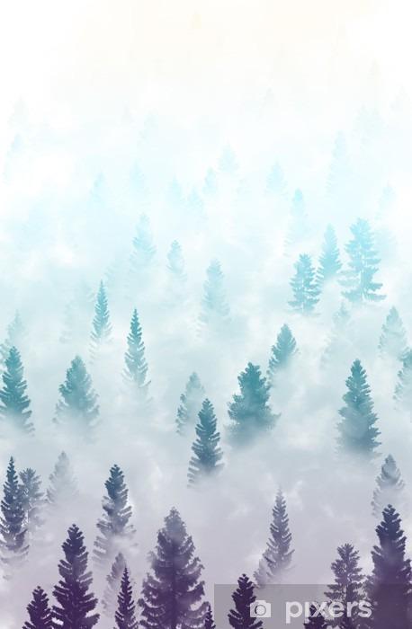 Naklejka Pixerstick Mglisty krajobraz las - Krajobrazy