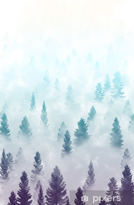 misty forest landscape Vinyl Wall Mural - Landscapes