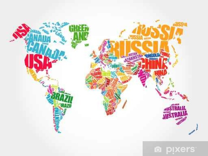 Australia Word Map.World Map In Typography Word Cloud Concept Names Of Countries Wall Mural Vinyl