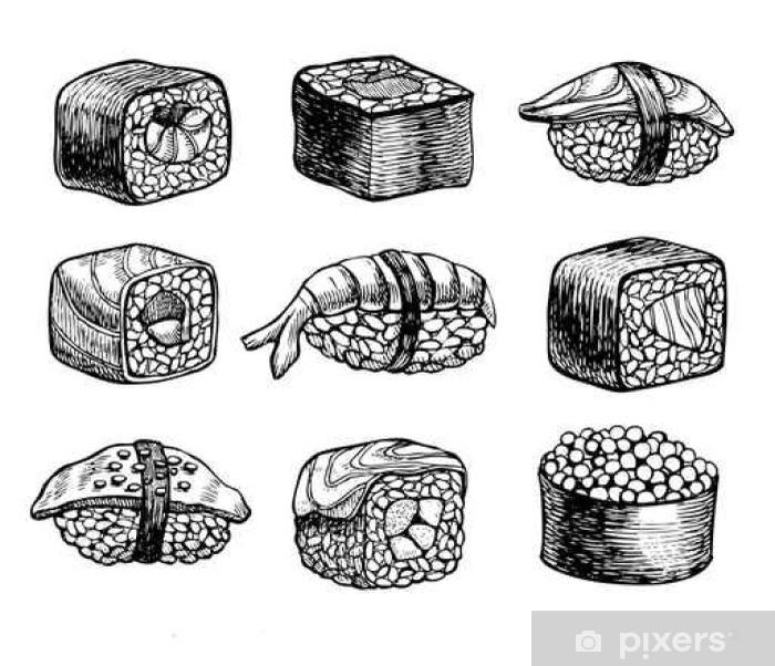 Vector hand drawn sushi set. Vintage sketch illustration. Poster - Food