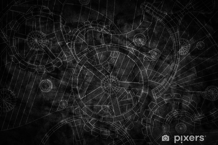 Abstract industrial, technology background. Gears outlines Vinyl Wall Mural - Industry