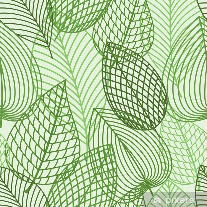 Poster Seamless du printemps contour des feuilles de reen - Ressources graphiques
