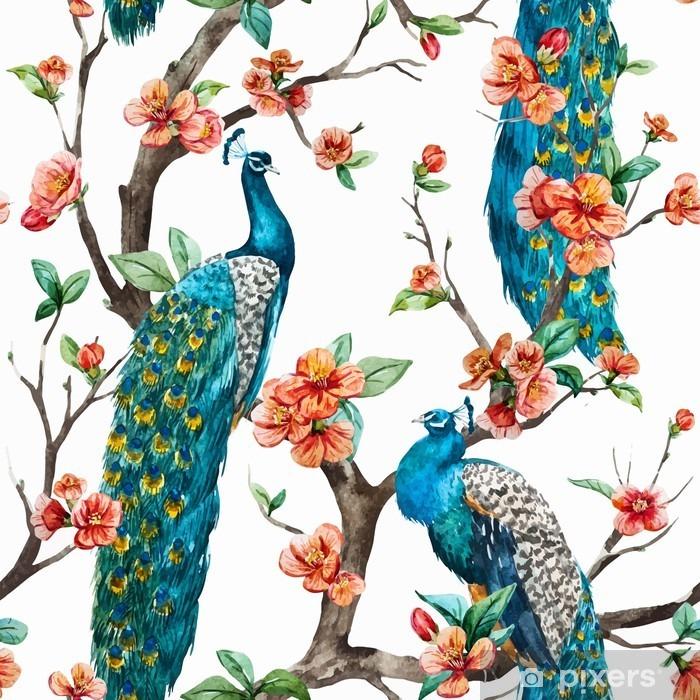 Carta da Parati in Vinile Acquerello modello vettore pavone - Animali