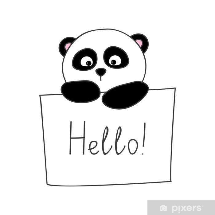 Cute Cartoon Panda Isolated On White Wall Mural Pixers We Live