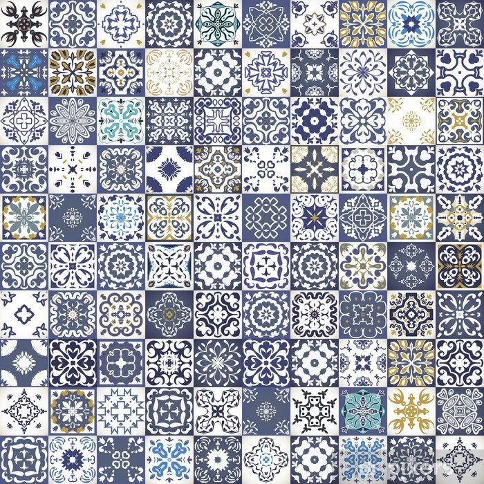 Gorgeous floral patchwork design. Colorful Moroccan or Mediterranean square tiles, tribal ornaments. For wallpaper print, pattern fills, web background, surface textures. Indigo blue white teal Vinyl Wall Mural - Private Buildings