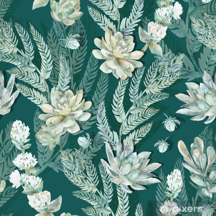 Zelfklevend Fotobehang Bloemen naadloos patroon. Vetplanten, varens, doornen. - Dieren