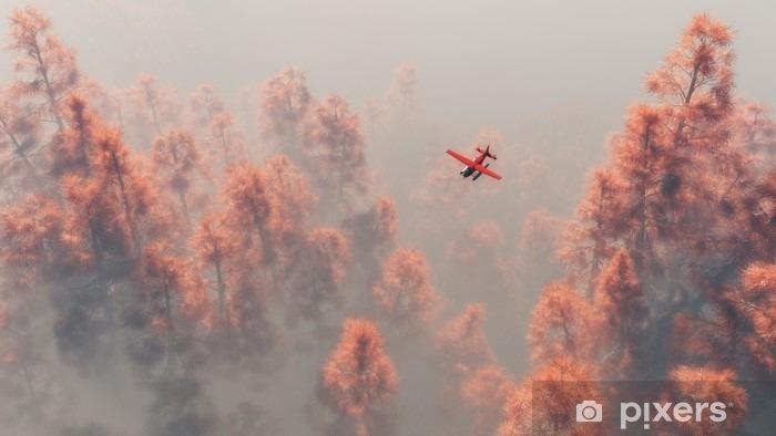 Pixerstick Aufkleber Einmotorigen Flugzeug über Herbst Kiefern im Nebel. - Transport