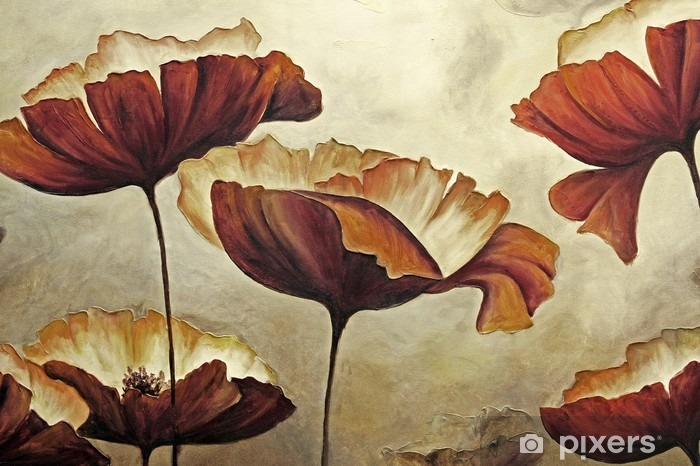Vinyl Fotobehang Het schilderen van papavers met textuur - Hobby's en Vrije tijd