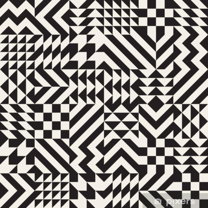 Papier Peint Autocollant Modèle de blocs de triangle géométrique irrégulier noir et blanc de vecteur motif de blocs de losange - Ressources graphiques