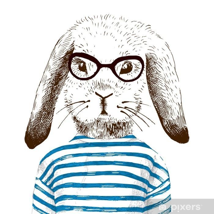 Sticker Pixerstick Illustration de lapin habillé - Animaux