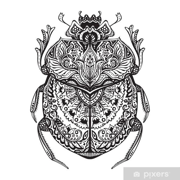 Fototapete Schwarze Und Weiße Hand Zentangle Stilisierter Scarabäus Gezeichnet